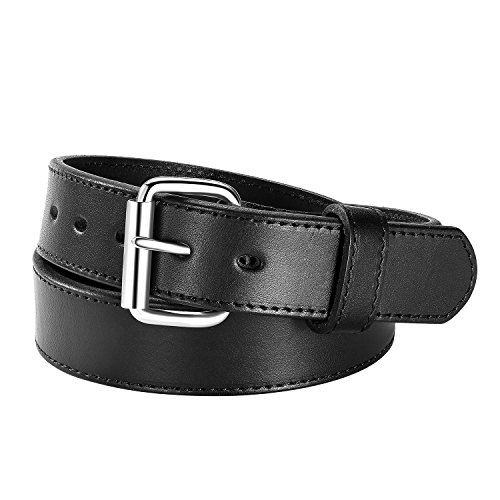 GritGuts Leather Gun Belt for Concealed Carry CCW, 1 1/2 Inch 100% Premium USA Full Grain Leather Belt, 100 Year Warranty-Stitched Pattern,Black, Men's, Holiday Gift, Heavy Duty
