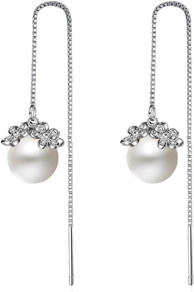 YXWLKG Aretes de plata esterlina 925 Pendientes de circonita con flor de perla de plata esterlina 925 para mujer Pendientes de joyería de plata esterlina Pendientes