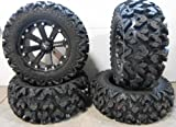 Bundle - 9 Items: MSA Black Kore 14'' ATV Wheels 26'' Rip Saw Tires [4x110 Bolt Pattern 10mmx1.25 Lug Kit]