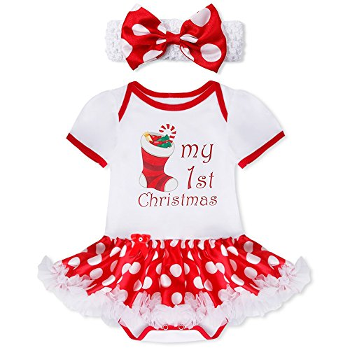feeshow baby girls my first christmas outfit romper tutu dress with headband white xmas stocking 6 9 months