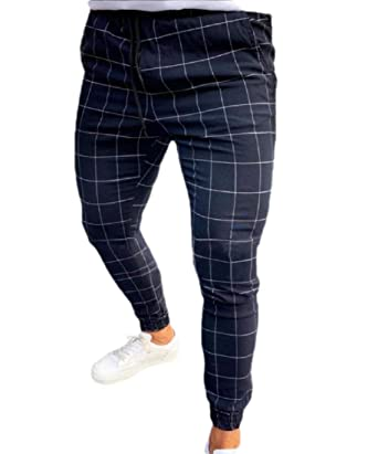 WSPLYSPJY Mens Skinny Slim Fit Stretch Plaid Trousers Long ...