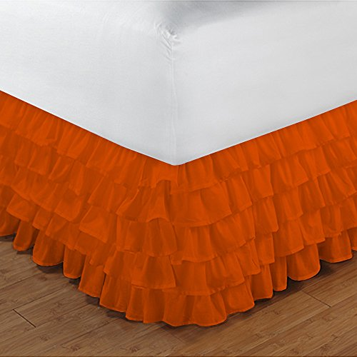 Relaxare Full XL 300TC 100% Egyptian Cotton Orange Solid 1PCs Multi Ruffle Bedskirt Solid (Drop Length: 23 inches) - Ultra Soft Breathable Premium Fabric by Relaxare (Image #1)
