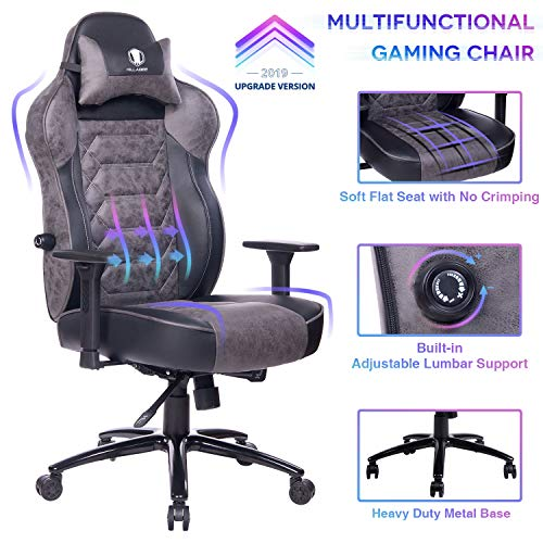 KILLABEE Gaming Chair Racing Office Chair – Adjustable Built-in Lumbar Support and Back Angle Ergonomic High-Back Leather Computer Desk Executive Swivel Chair with Wide Flat Seat and Metal Base, Gray