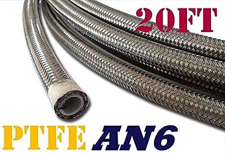 6 AN6 PTFE Black Swivel Fittings Stainless Steel Fuel Line Hose Kit E85 20FT PTFEAN6/_KIT/_DA/_BK