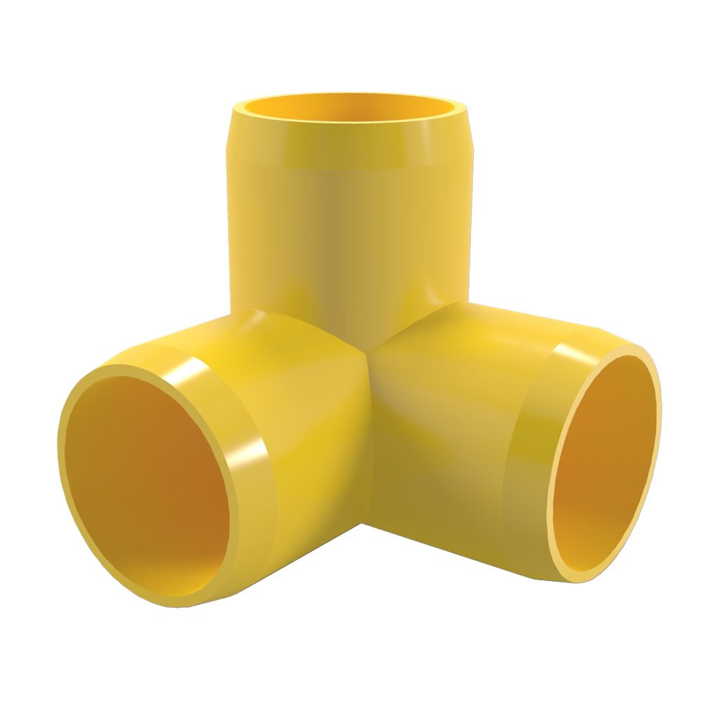 "FORMUFIT F0123WE-YE-10 3-Way Elbow PVC Fitting, Furniture Grade, 1/2"" Size, Yellow (Pack of 10)"