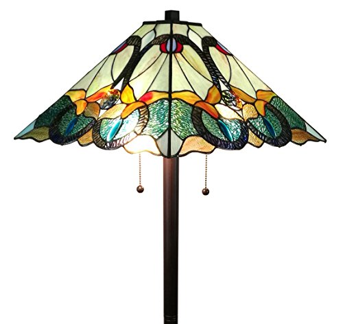Amora Lighting AM255FL17 63″ High Tiffany Style Mission Floor Lamp, Green/Yellow