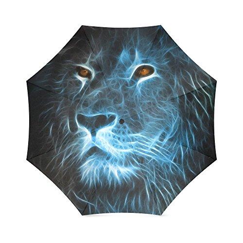 foldable Umbrella Lions Fractal Artwork Portable Travel Umbrella (Fractal Rib)