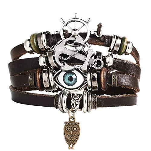 Guy-Sex Faddish 17 KM Design Turkey Eye Bracelet Men's Women's Wristband Women's Leather Bracelet Stone Vintage Jewelry