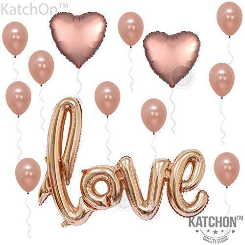 (KATCHON 1 Love Kit-Valentines Day Decorations and Gift Foil Heart Balloons-Rose Gold De)