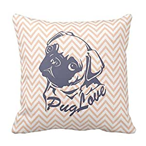 Generic Custom Pattern Pillow Cover 18 x 18 Cute Pug Dog Orange Chevron Girly Pattern Throw Pillowcases