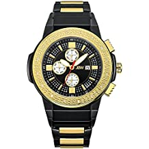 JBW JB-6101-K Saxon Swiss-Quartz Multi-Function Movement Diamond Two Tone Stainless Steel Men's Wrist Watch, Black