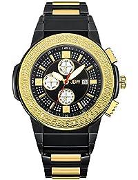 JBW JB-6101-K Saxon Swiss-Quartz Multi-Function Movement Diamond Two Tone Stainless Steel Men's Wrist Watch, Black