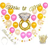 Bachelorette Party Decorations Kit   Bridal Shower Decorations   Supplies   Includes Bride to Be Sash, Tiara, Foil Ring Balloon, Party Straws, Miss to Mrs Banner, Rose, Gold, Pink Balloons, Garland