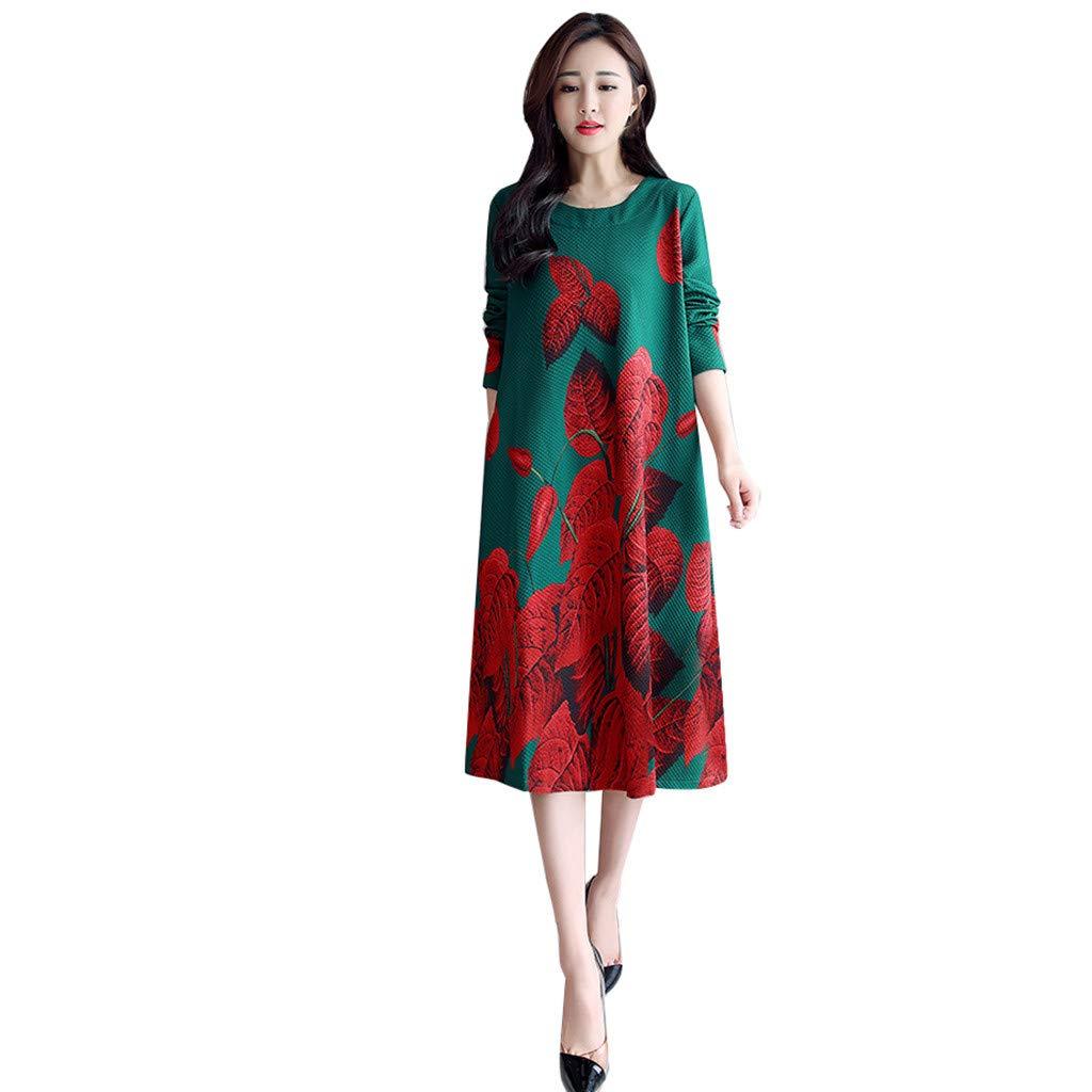 AMhomely Women Dresses Sale Casual Ladies Long Sleeve Long Derss O-Neck Floral Printed Loose Dress Plus Size Dress Party Elegant Dress Vintage Dress UK Size S XXXXL