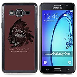 - Indian Headgear Feathers Maroon - - Snap-On Rugged Hard Cover Case Funny HouseFOR Samsung Galaxy On5 SM-G550FY G550