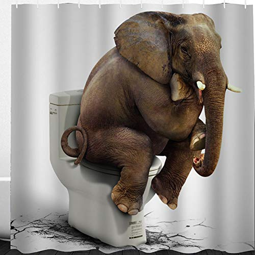 Miss-Loly Image of Elephant Sitting on the Toilet, Polyester Fabric Shower Curtain Set with 12pcs Hooks, 3D Digital Printing, Waterproof, Mildew Resistant, 72'' x 72''
