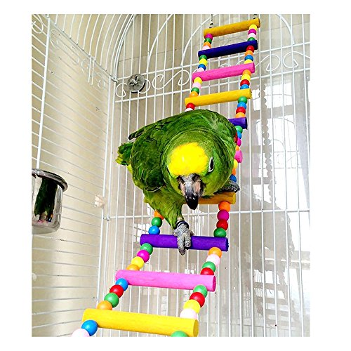 Saymequeen 31-80cm Multi-color Parrots Ladder Bridge Pet Bird Trainning Swings Wood Budgie Toys Climbing Ladder Hanging Toy Hammock (12 Ladders(L:80cm/31.4'')) by Pet-Saymequeen (Image #8)