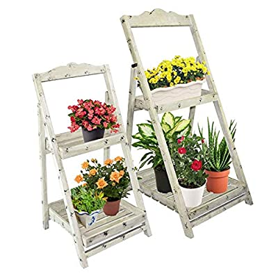 Foldable Wooden Plant Stands for Indoor Outdoor or Greenhouse, Two Shelves : Garden & Outdoor
