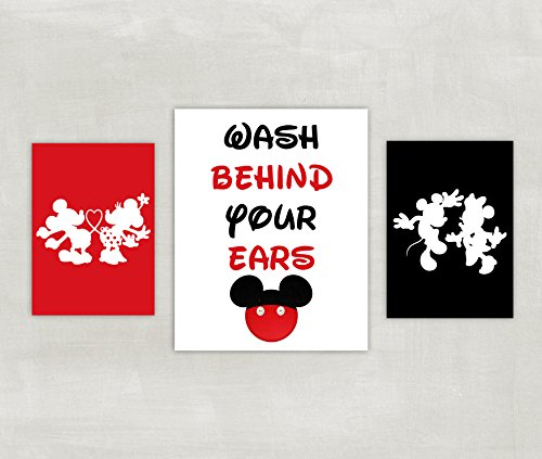Minnie and Mickey Mouse Bathroom Prints - Silhouette - Wash Behind Your Ears Set of 3 Prints ((unframed)) (Mickey And Minnie Bathroom Set)