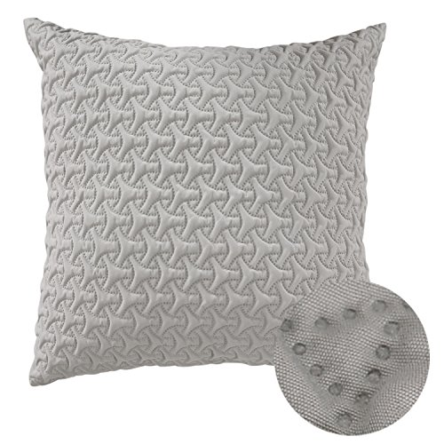 Deconovo Throw Cushion Cover Home Decorative Hand Made Pillow Case Microfiber Cushion Cover For Couch 18×18 Inch Greige