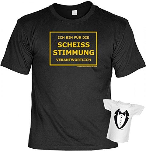 T-Shirt für Party + Feier - Ich bin für die scheiss Stimmung verantwortlich - Sprüche Set inkl. Minishirt als Geschenk