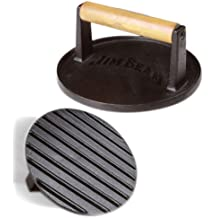 Jim Beam JB0158 Cast Iron Grill,Burger, Bacon, Tortilla Press With Wood Handle