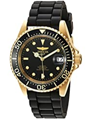 Invicta Mens Pro Diver Automatic Gold-Tone and Stainless Steel Casual Watch, Color:Black (Model: 23681)