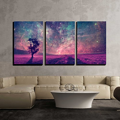 Red Alien Landscape with Alone Tree Silhouette in Purple Field x3 Panels