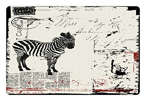 Grunge Pet Mats for Food and Water by Lunarable, Modern Textured African Safari Animal Zebra on Retro Typographic Background Print, Rectangle Non-Slip Rubber Mat for Dogs and Cats, Black - Retro Zebra