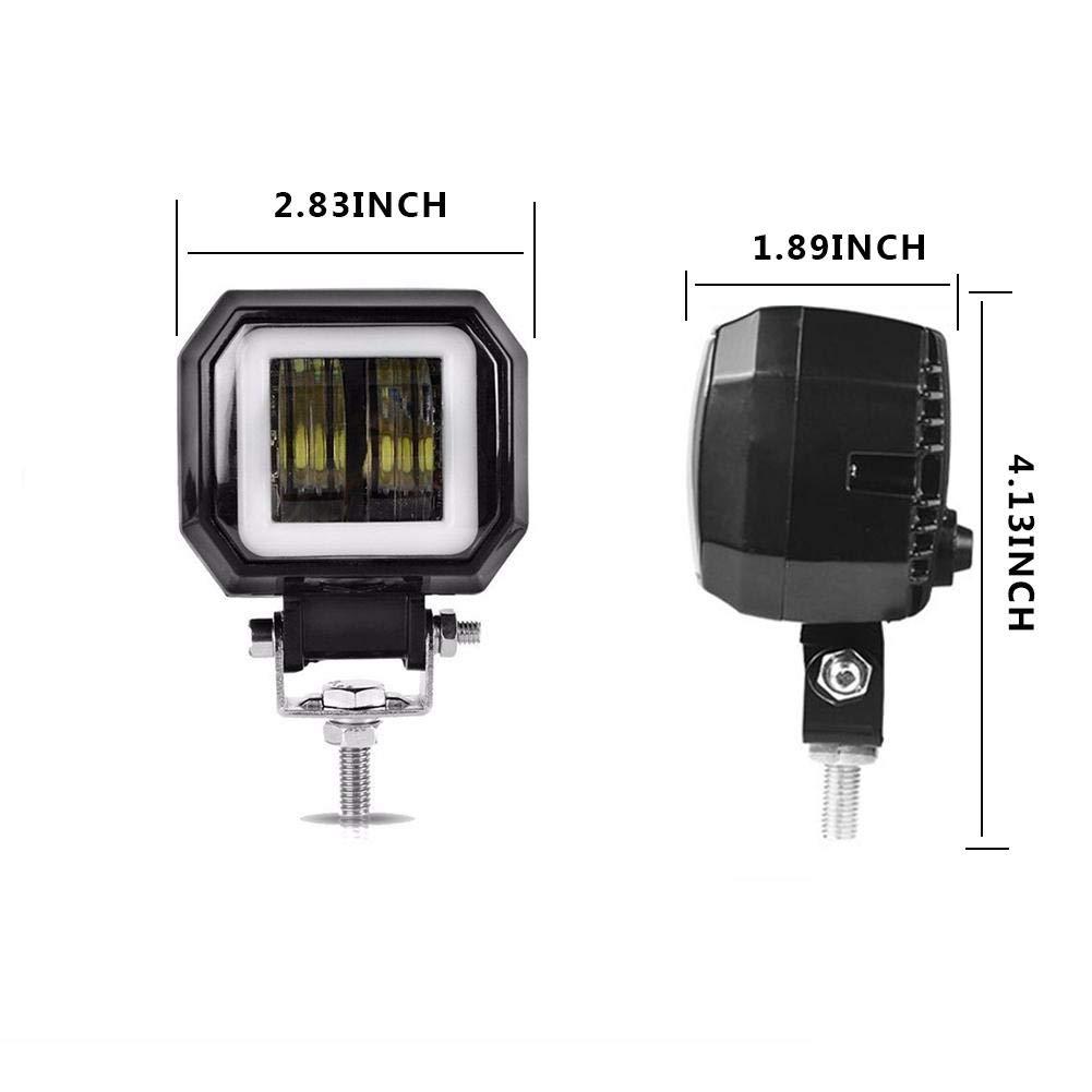 Sunronal 20W Universel Moto /étanche Phare Conduite Brouillard Spot Lampe Frontale lumi/ère Phare