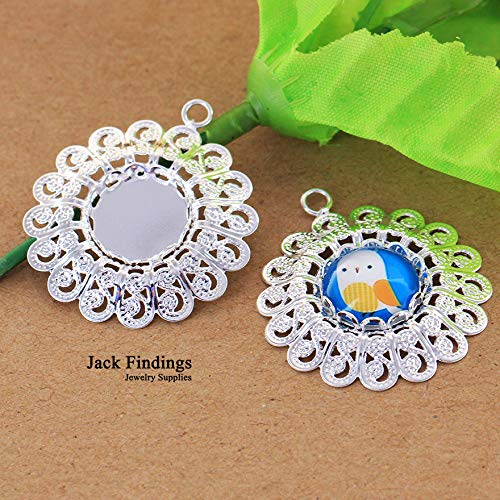 (Kamas 5pcs/lot 12mm (Lace Tray) Silver Plated Cabochon Base Blank Tray Set Cameo Settings Brass Copper Round Pendant)