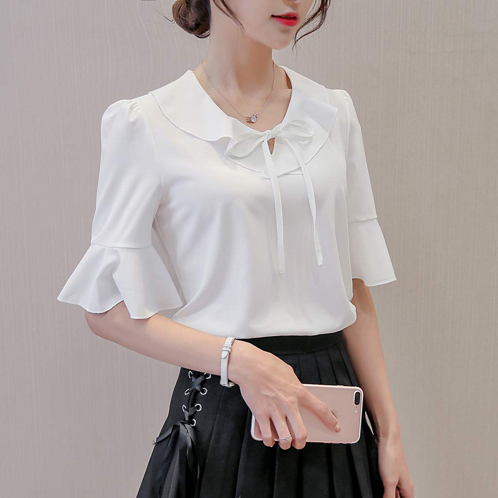 Ximandi Womens Summer Work Office Tie up Short Sleeve Solid Chiffon Blouse Plus Shirt Top Casual Korean Style Tops