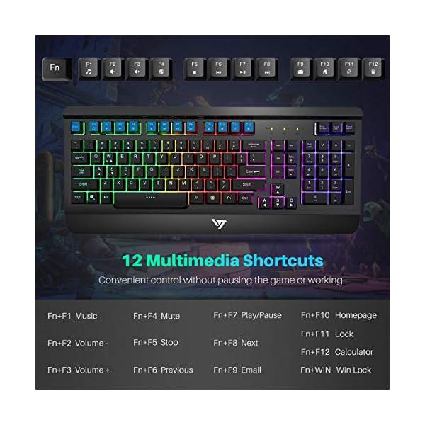 VicTsing Gaming Keyboard Mouse Combo, Ultra-Slim Rainbow LED Backlit Keyboard with Ergonomic Wrist Rest, Programmable 6…