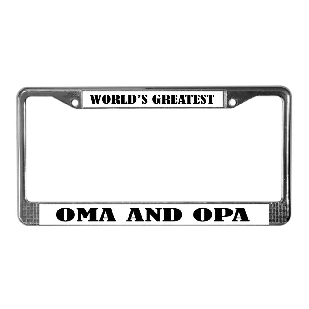 CafePress - WORLDS GREATEST OMA OPA License Plate Frame - Chrome License Plate Frame, License Tag Holder
