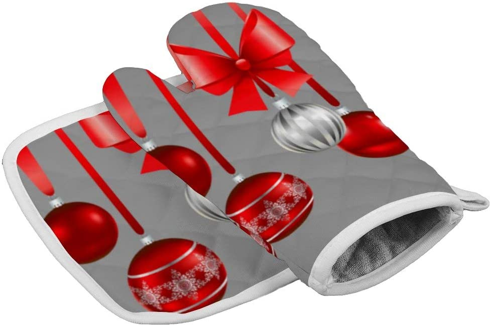 Merry Christmas Red Bow Ribbon Ball Throw Area Ground Oven Gloves Microwave Gloves Barbecue Gloves Kitchen Cooking Bake Heat Resistant Gloves Combination