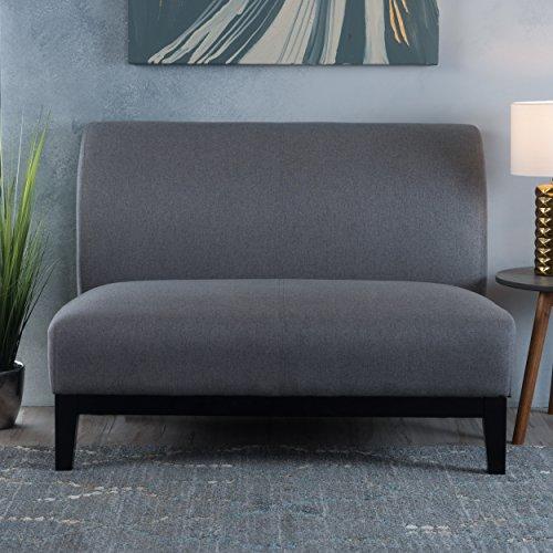 Dauphin Contempo Plush Grey Fabric Settee Loveseat