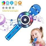 Wireless Karaoke Microphone, Handheld Bluetooth Microphone with Speaker and Light Echo Mic Portable Karaoke Player for Kid Adult Girl Home Party Singing Birthday Gift (Blue)