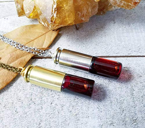 Blood Vial Necklace - Bullet blood vial bottle necklace halloween cosplay jewelry