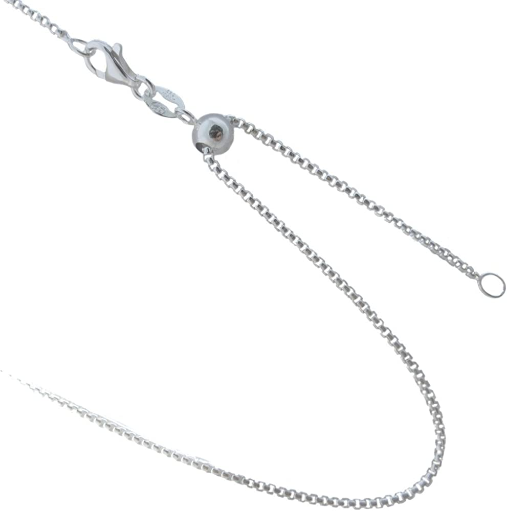 1.2mm Solid Sterling Silver Adjustable Diamond Cut Bead Chain Necklace up to 22 Jewelry