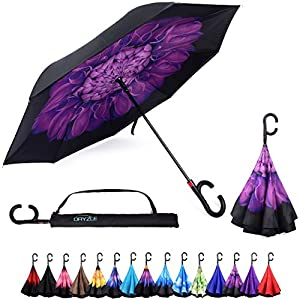 Auto Open Reverse Folding Umbrella for Rain, Sun & Car with Carrying Case - Windproof & UV Protection Umbrellas for Women and Men, C Hook Handle for Travel, Golf & Sports by Dryzle