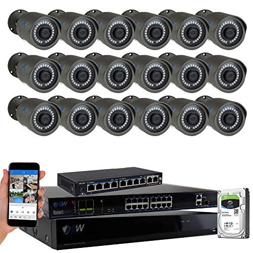 - GW Security 32CH 4K POE NVR System (18) 5MP IP Security Bullet Surveillance Cameras with 4TB Hard Drive, Motion Detection, Live-View Recording, Night Vision, 2-Year Warranty - Best CCTV System