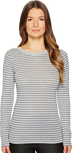 Vince Women's Double Pinstripe Tee, Blue Haze/Black, Medium (Tee Vince Jersey Pima)