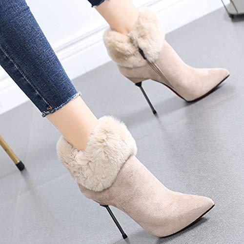 Para Botas Hrcxue Mujer Zapatos La Camello Corte Alto Tacón De Martin 35 wAw10