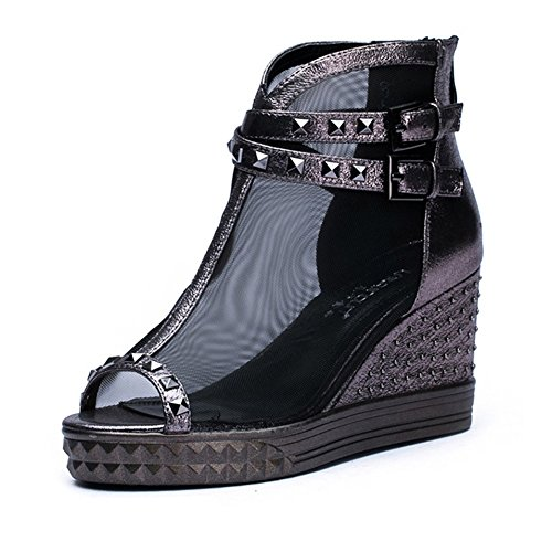 Heel Ladies Mouth PU 34 Women's Summer Spring Color Black Breathable Sandals Casual Sandals Heightening Thick Fish Buckle Size Adult Mesh Artificial Shoes qxzqtnSf4