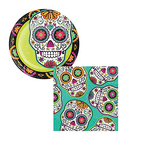 Sugar Skull Day of The Dead Dessert Party Pack! Bundle Includes Paper Plates and Napkins for 16 Guests -