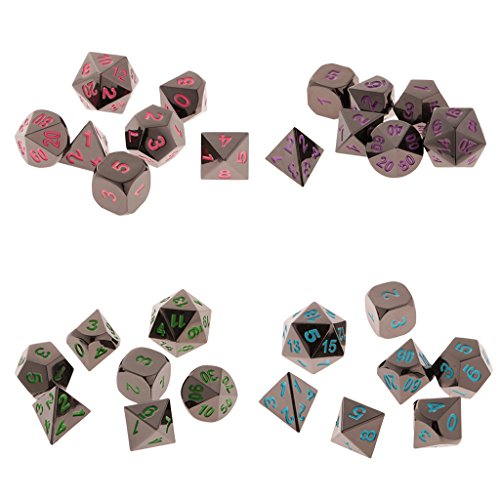 MonkeyJack 28Pcs Polyhedral Dice D4-D20 Die Red Green Purple Blue for Role Playing Game by MonkeyJack