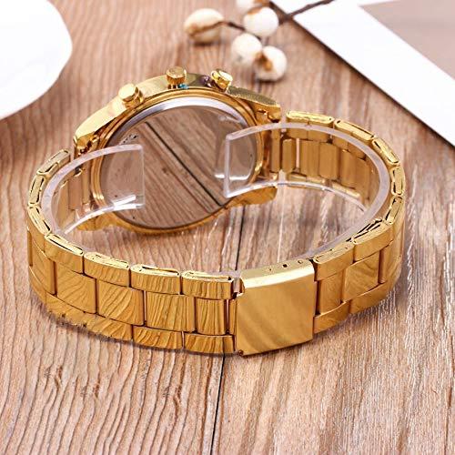 Amazon.com: JewelryWe Luxury Mens Dress Watch, Stainless Steel Bling Rhinestones Accented Quartz Wrist Watches - Gold: Watches