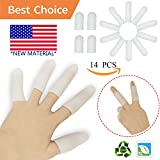 Gel Finger Cots, Finger Protector Support(14 PCS) NEW MATERIAL Finger Sleeves Great for Trigger Finger, Hand Eczema, Finger Cracking, Finger Arthritis and More.(White) (Gel Finger Cot)