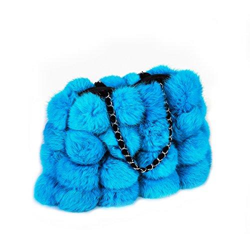 Metrekey Womens Fur Ball Purse Real Rabbit Fur Pompom Chain Handbags Blue