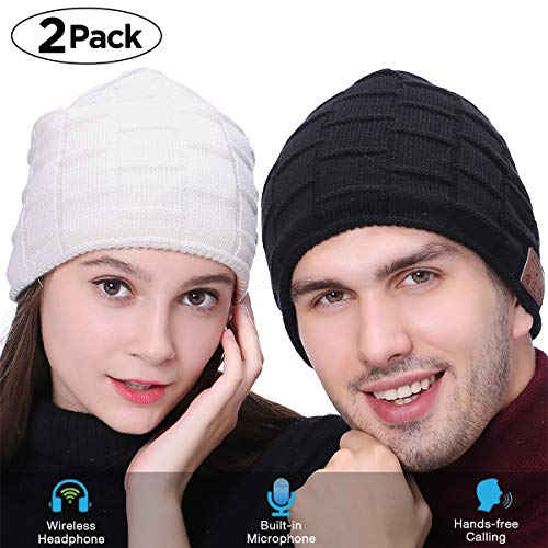 Fairwin Bluetooth Beanie Hat, Smart Wireless Music Beanie for Men and Women, Cashmere Warm Ski Music Hat Knit Gift Cap with Earphones for Winter Cycling Running Skating Hiking - Baseball Cashmere Cap